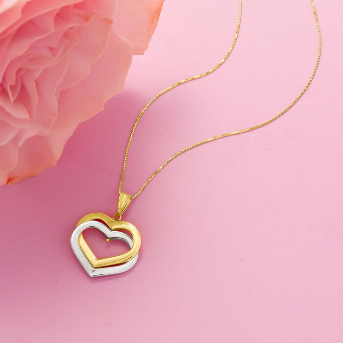 14kt Two-Tone Gold Interlocking Hearts Pendant Necklace
