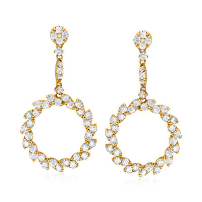 2.50 ct. t.w. Diamond Open-Circle Drop Earrings in 14kt Yellow Gold