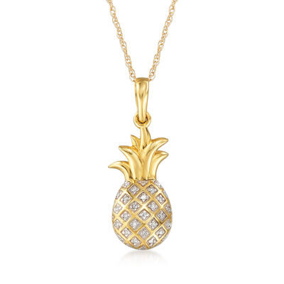 14kt Yellow Gold Pineapple Pendant Necklace with Diamond Accents