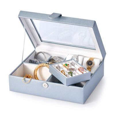 Slate Gray Faux Leather Perfect Luxury Jewelry Box, , default