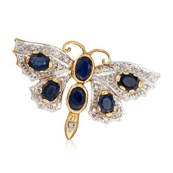 C. 1980 Vintage 2.90 ct. t.w. Sapphire and .20 ct. t.w. Diamond Butterfly Pin in 14kt Yellow Gold, , default