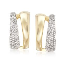 Roberto Coin 1.26 ct. t.w. Diamond Hoop Earrings in 18kt Two-Tone Gold, , default