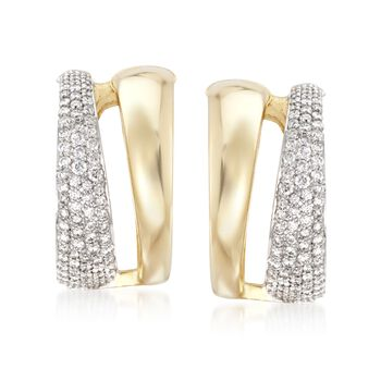 """Roberto Coin 1.26 ct. t.w. Diamond Hoop Earrings in 18kt Two-Tone Gold. 5/8"""", , default"""