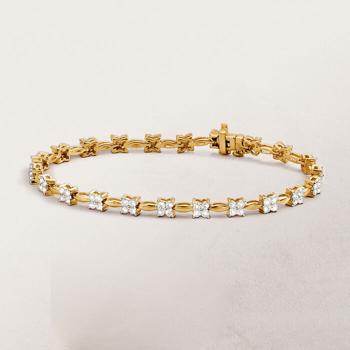 2.00 ct. t.w. Diamond Floral Station Bracelet in 14kt Yellow Gold