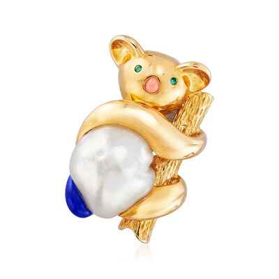 C. 1970 Vintage Cultured Pearl, Coral and Lapis Koala Bear Pin in 18kt Yellow Gold with Emerald Accents, , default