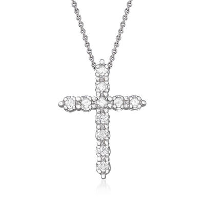 .50 ct. t.w. Diamond Cross Pendant Necklace in 14kt White Gold, , default