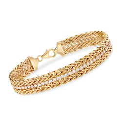 2.65 ct. t.w. CZ and 14kt Yellow Gold Wheat Chain Bracelet, , default