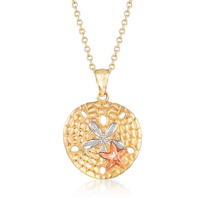 Sand Dollar and Starfish Pendant Necklace in Tri-Colored 14kt Yellow Gold, , default