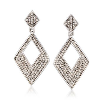 .33 ct. t.w. Diamond Rhombus Drop Earrings in Sterling Silver, , default