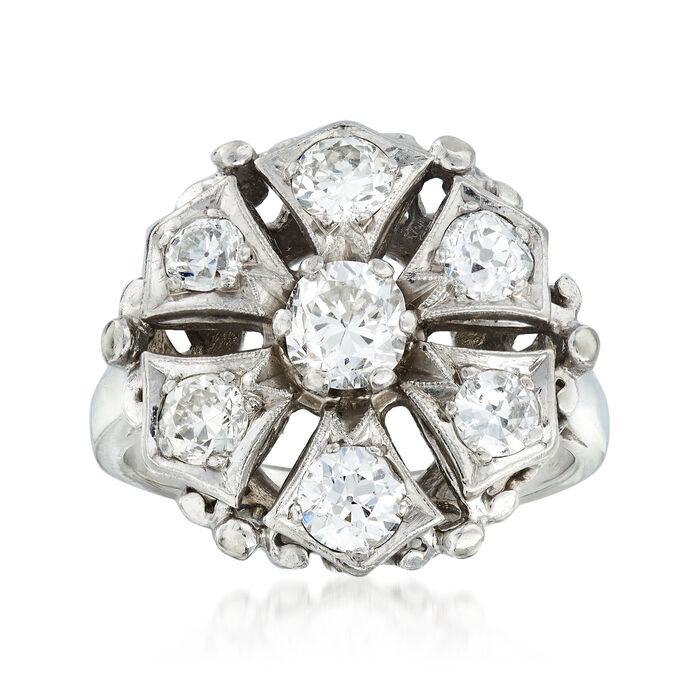 C. 1950 Vintage 1.50 ct. t.w. Diamond Cluster Ring in 14kt White Gold. Size 6