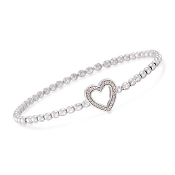 """.15 ct. t.w. Diamond Heart Bead Stretch Bracelet in Sterling Silver. 7"""", , default"""