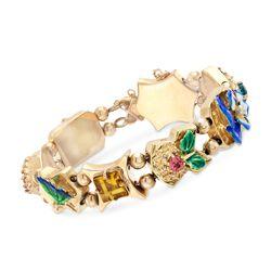 C. 1990 Vintage Multi-Stone Floral Motif Slide Charm Bracelet in 14kt Gold, , default