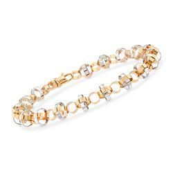 "14kt Two-Tone Gold Interlocking Circle Bracelet. 8"", , default"