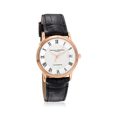 Pre-Owned Baume & Mercier Classima Men's 32mm Automatic 18kt Rose Gold Watch with Black Leather, , default