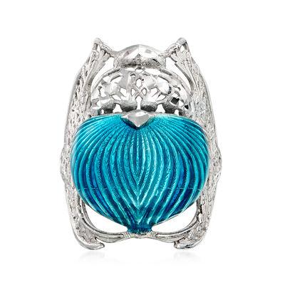 Italian Blue Enamel Beetle Ring in Sterling Silver