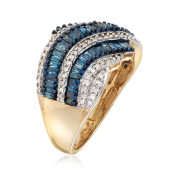 C. 1990. Vintage 2.90 ct. t.w. Blue and White Diamond Ring in 14kt Yellow Gold. Size 8, , default