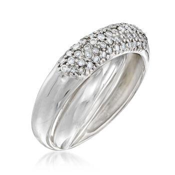C. 1990 Vintage .60 ct. t.w. Diamond Crisscross Ring in 14kt White Gold . Size 7
