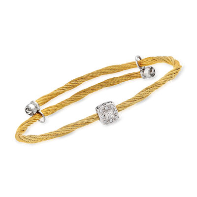 ALOR Yellow Stainless Steel and 18kt White Gold Cable Adjustable Bracelet with Diamond Accents