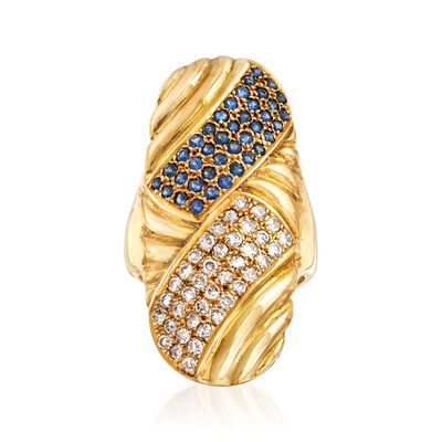 C. 1970 Vintage .95 ct. t.w. Sapphire and .77 ct. t.w. Diamond Long Woven Ring in 18kt Yellow Gold, , default