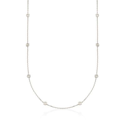 .50 ct. t.w. Diamond Station Necklace in Sterling Silver, , default
