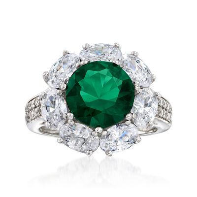 Simulated Emerald and 3.75 ct. t.w. CZ Ring in Sterling Silver