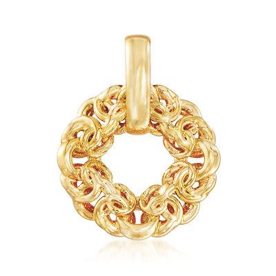 Italian Andiamo 14kt Yellow Gold Byzantine Circle Pendant, , default