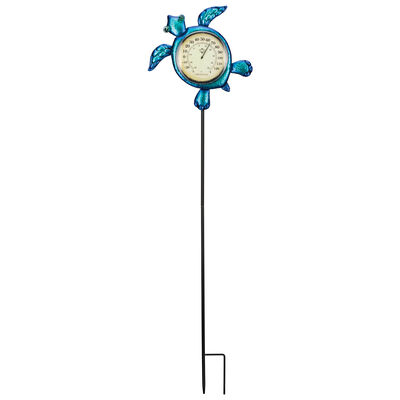 Regal Sea Turtle Thermometer Solar Garden Stake, , default