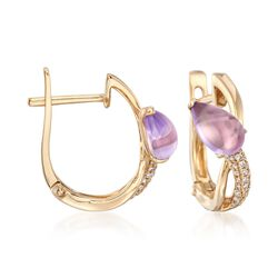 "1.80 ct. t.w. Purple Amethyst and .15 ct. t.w. Diamond Earrings in 14kt Yellow Gold. 1/2"", , default"
