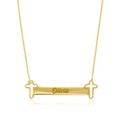 14kt Yellow Gold Open-Space Cross and Bar Necklace