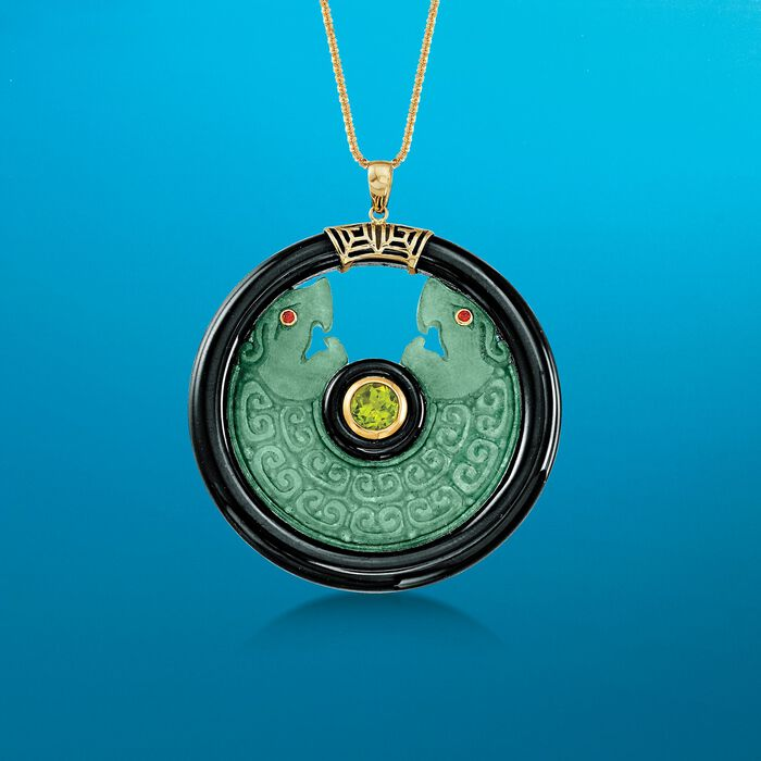 Jade and Black Agate Double Dragon Pendant with Peridot in 14kt Yellow Gold
