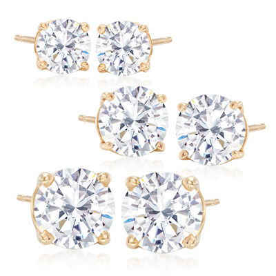 6.00 ct. t.w. CZ Jewelry Set: Three Pairs of Stud Earrings in 18kt Gold Over Sterling