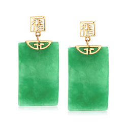 "Rectangular Green Jade ""Fortune"" Symbol Drop Earrings in 14kt Yellow Gold, , default"