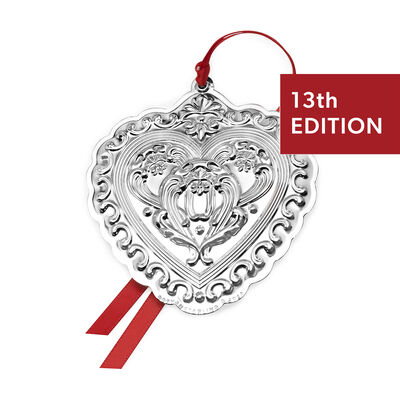 Gorham 2020 Sterling Silver Chantilly Heart Ornament - 13th Edition