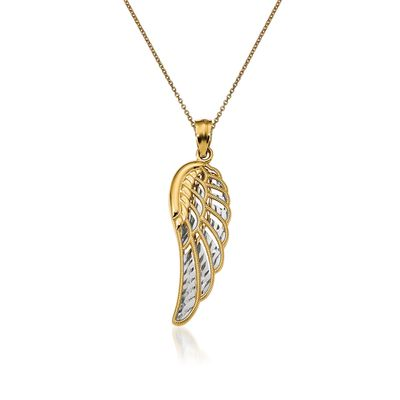 14kt Yellow Gold Angel Wing Pendant Necklace, , default