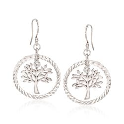 Sterling Silver Diamond-Cut and Polished Tree of Life Drop Earrings, , default