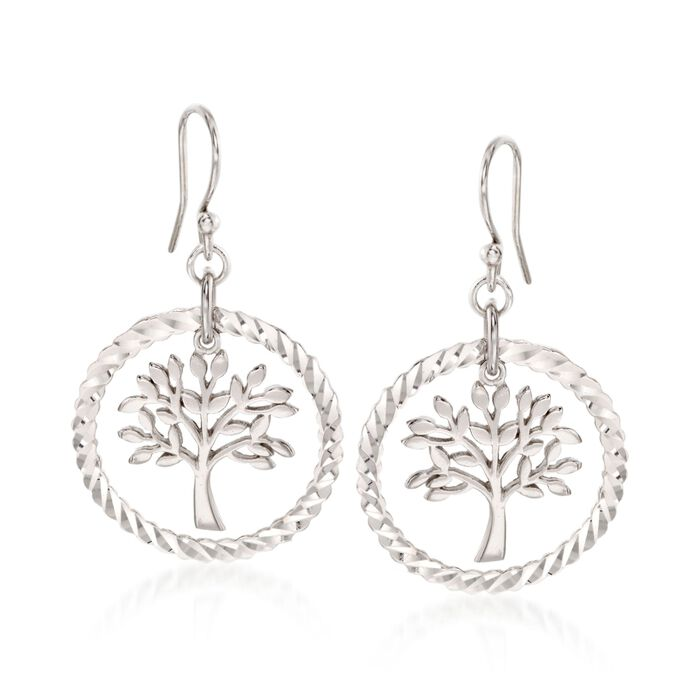 Sterling Silver Diamond-Cut and Polished Tree of Life Drop Earrings , , default