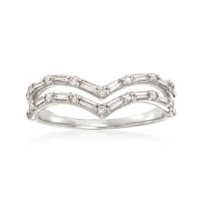 .33 ct. t.w. Diamond Double-Row Chevron Ring in 14kt White Gold, , default