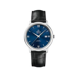 Omega De Ville Prestige Men's 39.5mm Stainless Steel Watch With Black Leather Strap and Blue Dial , , default