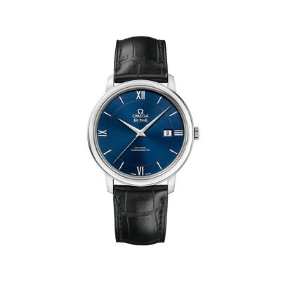 Omega De Ville Prestige Men's 39.5mm Stainless Steel Watch With Black Leather Strap and Blue Dial, , default