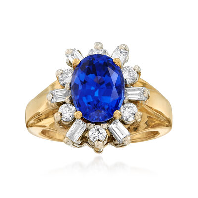 C. 1980 Vintage 2.60 Carat Sapphire and .50 ct. t.w. Diamond Ring in 14kt Yellow Gold, , default