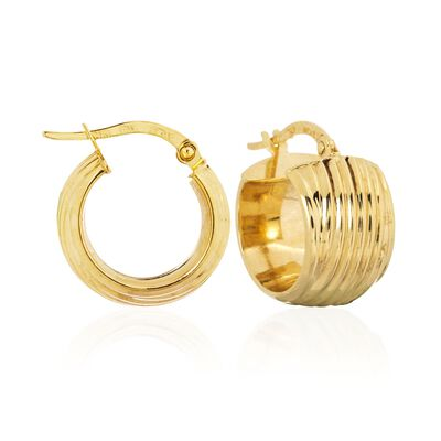 14kt Yellow Gold Wide Ribbed Hoop Earrings, , default