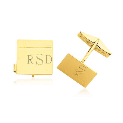 14kt Yellow Gold Three-Initial Cuff Links