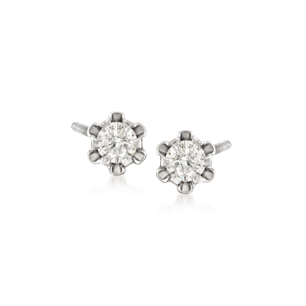 Child S 14 Ct T W Diamond Stud Earrings In 14k White Gold Default