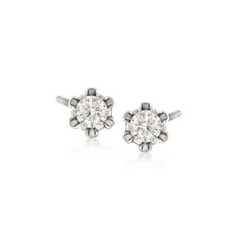 Child's .14 ct. t.w. Diamond Stud Earrings in 14k White Gold, , default