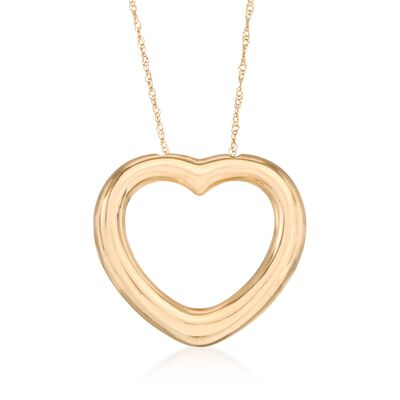 14kt Yellow Gold Heart Necklace, , default