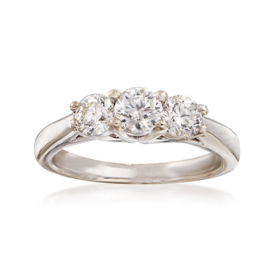 C. 1990 Vintage 1.04 ct. t.w. Three-Stone Diamond Ring in 18kt White Gold, , default