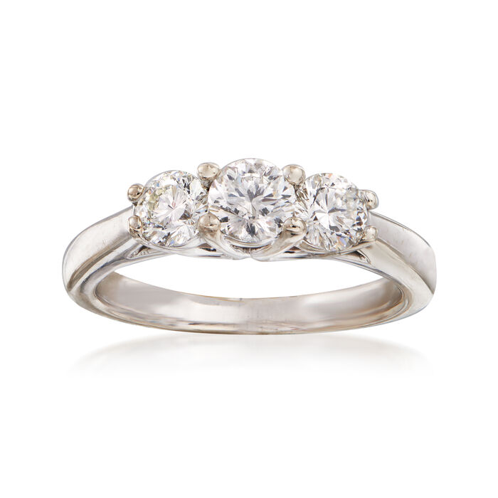 C. 1990 Vintage 1.04 ct. t.w. Three-Stone Diamond Ring in 18kt White Gold. Size 5.5, , default