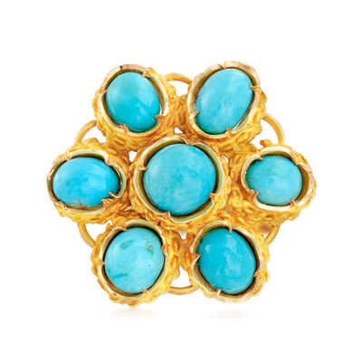 C. 1970 Vintage Turquoise Flower Ring in 18kt Yellow Gold, , default