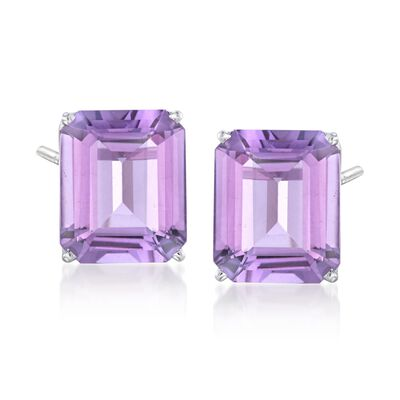 10.00 ct. t.w. Amethyst Stud Earrings in 14kt White Gold