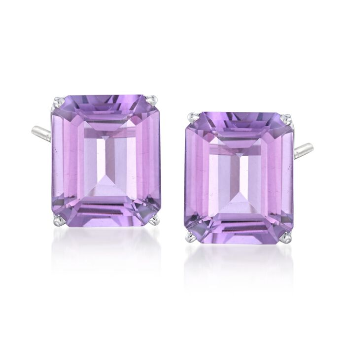 10.00 ct. t.w. Amethyst Stud Earrings in 14kt White Gold , , default